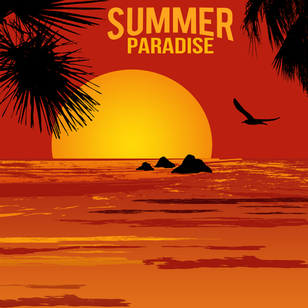 tropical beach panoramic: Summer paradise poster at tropical sunset, illustration