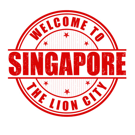 singapore city: Welcome to Singapore, The Lion City grunge rubber stamp on white, vector illustration
