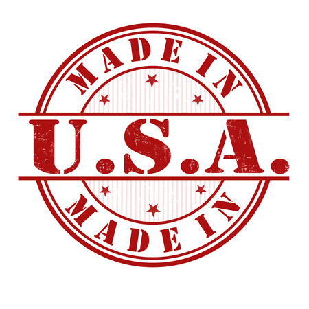 export import: Made in USA grunge rubber stamp on white, vector illustration