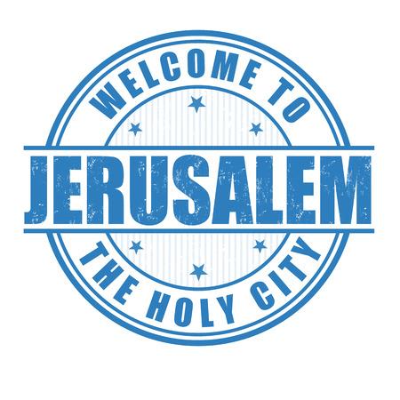 jeruzalem: Welkom in Jeruzalem, de Heilige Stad grunge rubberen stempel op wit, vector illustratie Stock Illustratie