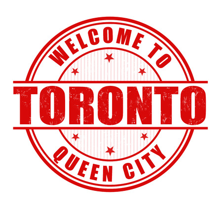 canada stamp: Welcome to Toronto, Queen City grunge rubber stamp on white, vector illustration Illustration