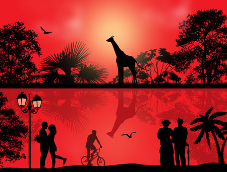 Vector design background with beautiful safari park and people silhouette with reflection on water Vector
