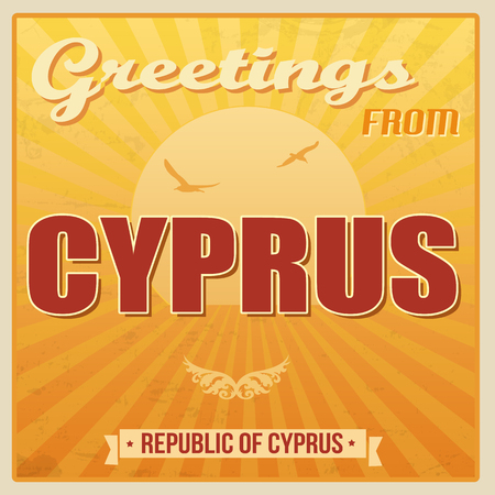 ecard: Vintage Touristic Greeting Card - Cyprus, vector illustration