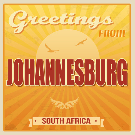 Vintage Touristic Greeting Card - Johannesburg, South Africa, vector illustration