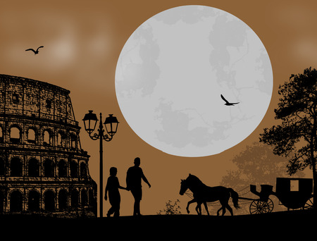 woo: Couple silhouette in front of Colosseum in Rome , vector illustration