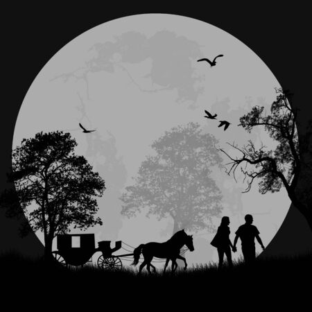 Carriage and lovers at night, romantic background, vector illustration Vector