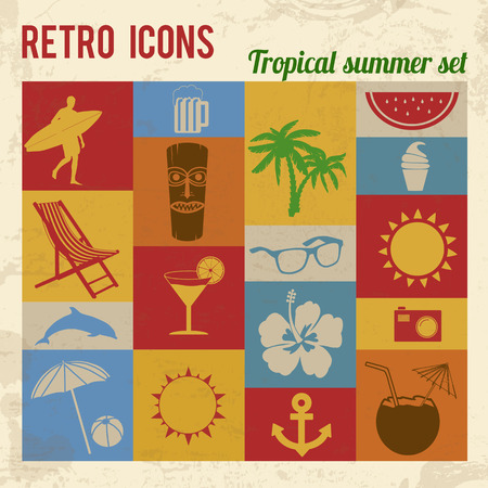 Tropical summer icons set. Retro signs with grunge effect, vector illustration  Vector