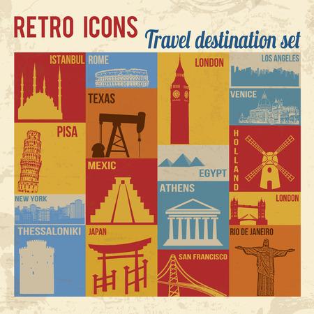 Travel destination icons set. Retro signs with grunge effect, vector illustration  向量圖像