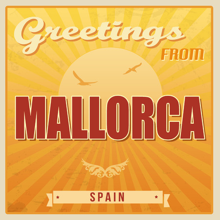 Vintage Touristic Greeting Card - Mallorca, Spain, vector illustration Vector