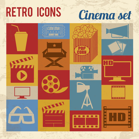 movie poster: Cinema icons set. Retro signs with grunge effect, vector illustration  Illustration