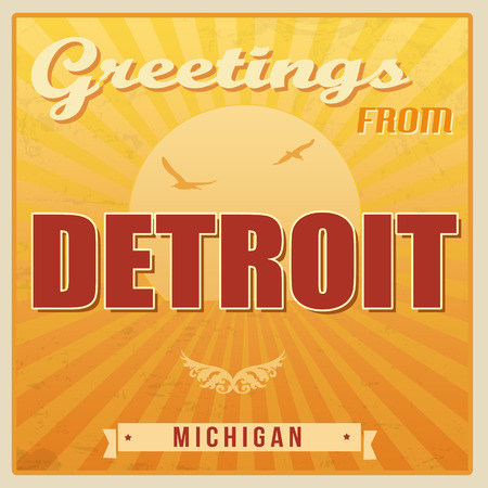 ecard: Vintage Touristic Greeting Card - Detroit, Michigan, vector illustration