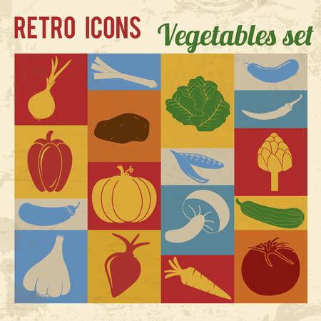 Vegetables icons set. Retro signs with grunge effect, vector illustration  Vector