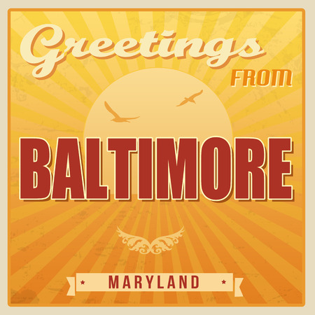 ecard: Vintage Touristic Greeting Card - Baltimore, Maryland, vector illustration