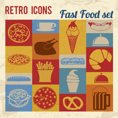 Fast Food icons set. Retro signs with grunge effect, vector illustration  Vector