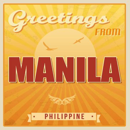 manila: Vintage turistica Greeting Card - Manila, Filippine, illustrazione vettoriale