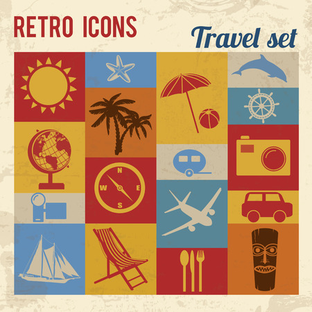 Travel icons set. Retro signs with grunge effect, vector illustration  Vector