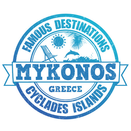 greek islands: Famous destinations, Mykonos grunge rubber stamp on white, vector illustration