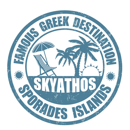 Famous destinations, Skiathos grunge rubber stamp on white, vector illustration Vector