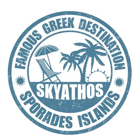 greek islands: Famous destinations, Skiathos grunge rubber stamp on white, vector illustration