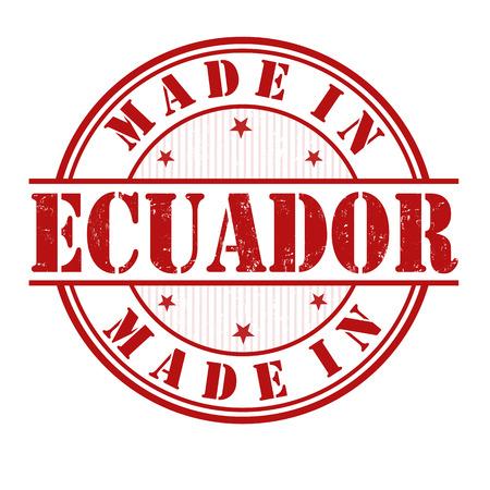 ecuador: Made in Ecuador grunge rubber stamp on white, vector illustration