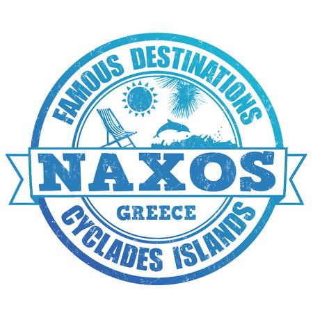 greek islands: Famous destinations, Naxos grunge rubber stamp on white, vector illustration