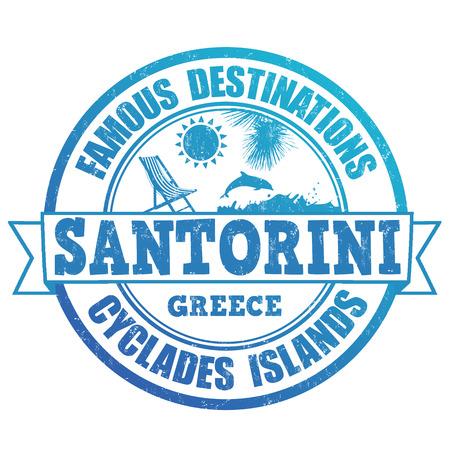 greek islands: Famous destinations, Santorini grunge rubber stamp on white, vector illustration