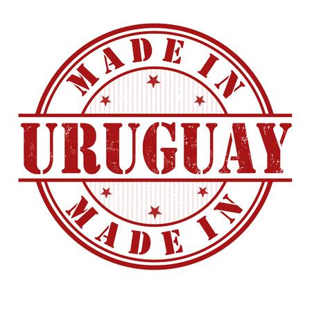 uruguay: Made in Uruguay grunge rubber stamp on white, vector illustration