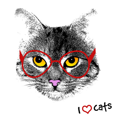 pussy: Grunge background with a stylized cat face with red glasses, vector illustration Illustration