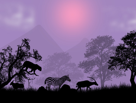 lila: Sunset Safari - Wildlife silhouetted against a lila sunset, vector illustration