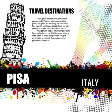 Pisa, vintage travel destination grunge poster with colored splash and space for your text Vector