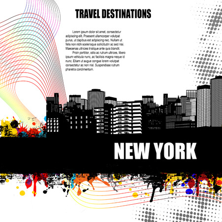 new york strip: New York , vintage travel destination grunge poster with colored splash and space for your text, vector illustration