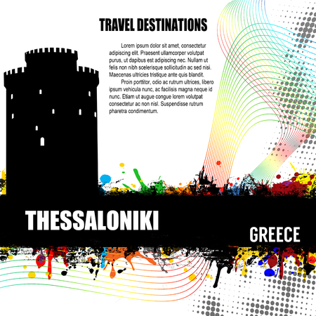 Thessaloniki, vintage travel destination grunge poster with colored splash and space for your text