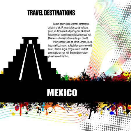 chichen: Mexico , vintage travel destination grunge poster with colored splash and space for your text, vector illustration