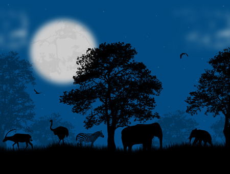 Wild animals over blue sunset Vector