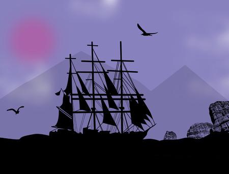 brigand: Boat floating on the ocean, vector illustration