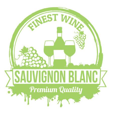 finest: Sauvignon blanc miglior timbro di gomma grunge vino su sfondo bianco, illustrazione vettoriale