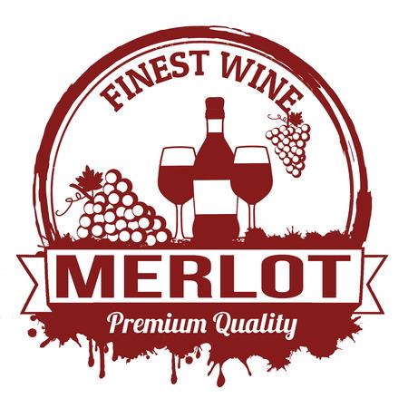 Merlot finest wine grunge rubber stamp on white background