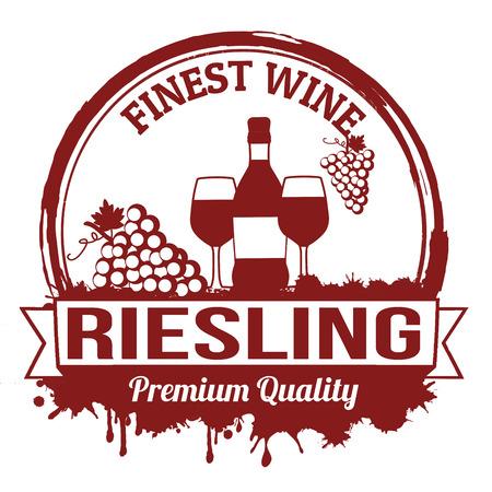 finest: Riesling miglior vino timbro di gomma grunge su sfondo bianco