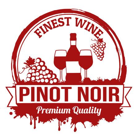 noir: Pinot noir finest wine grunge rubber stamp on white background