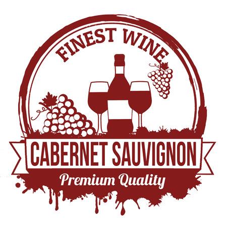 sauvignon: Cabernet sauvignon finest wine grunge rubber stamp on white background