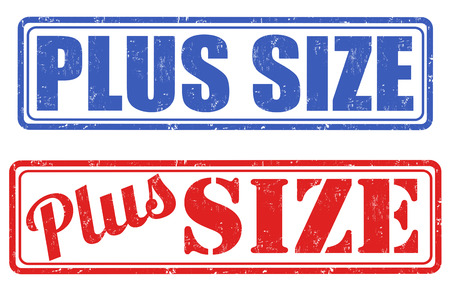 plus size: Plus size grunge rubber stamps on white background