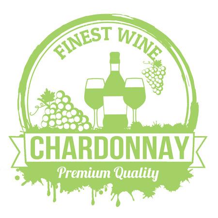 Chardonnay finest wine grunge rubber stamp on white background Illustration