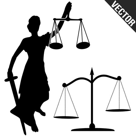 trial balance: Justice statue and scale on white background, vector illustration