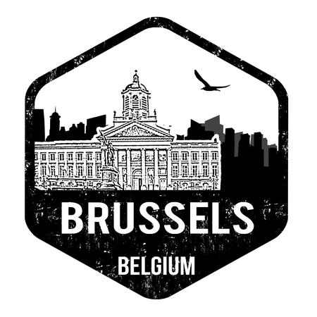 Brussels grunge rubber stamp on white, vector illustration Vector