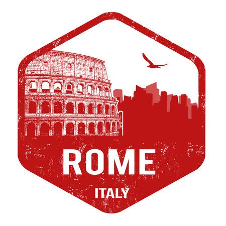 Rome grunge rubber stamp on white, vector illustration Vector