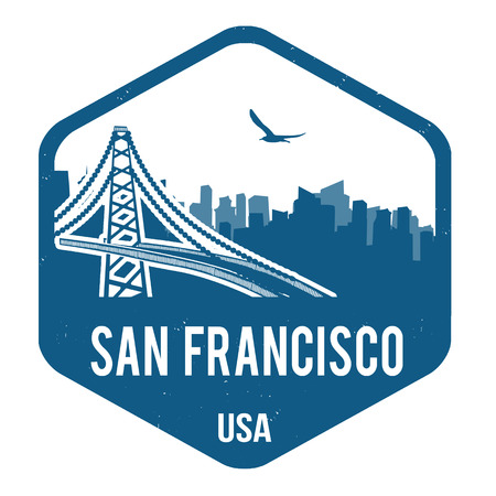 San Francisco グランジ スタンプ白、ベクトル イラスト  イラスト・ベクター素材