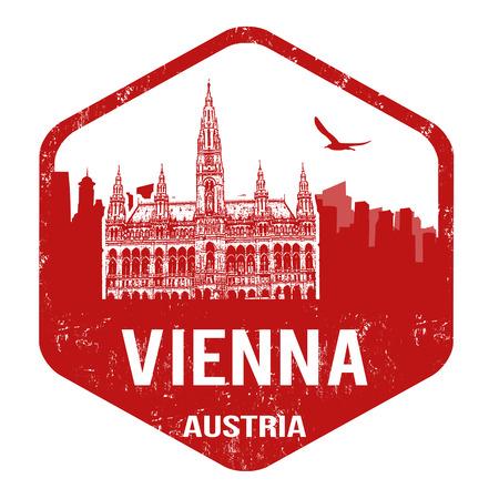 Vienna grunge rubber stamp on white, vector illustration Vector