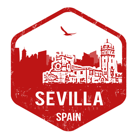 Sevilla grunge rubber stamp on white, vector illustration Vector