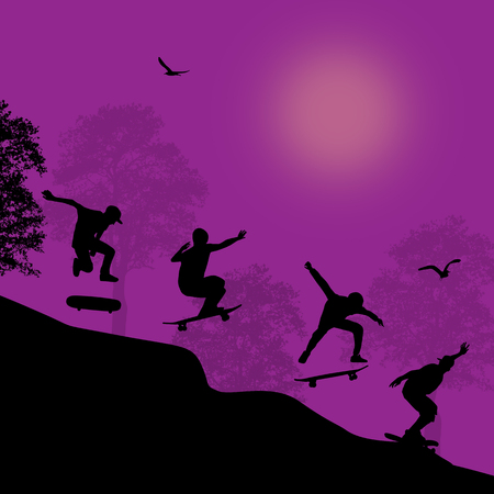 Skater silhouettes in front of city park, vector illustration Vector