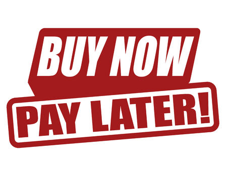 later: Buy now pay later label on white, vector illustration Illustration